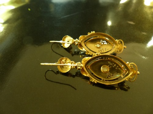 19th century - Earrings in gold and pearls  Napoleon III period