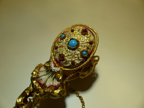 enamel, garnets, turquoise posy holder tussie mussie - Objects of Vertu Style Empire
