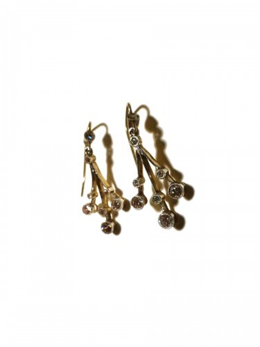 Two colours of gold and diamonds earrings