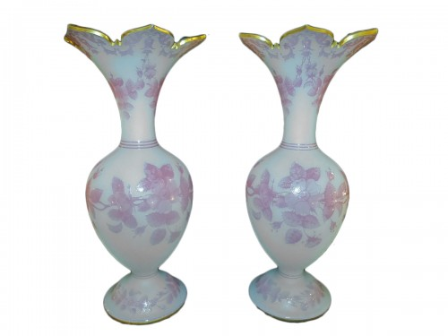 Baccarat, pair of vases in opaline and crystal