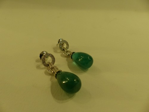 Antique Jewellery  - Emeralds and diamonds earrings