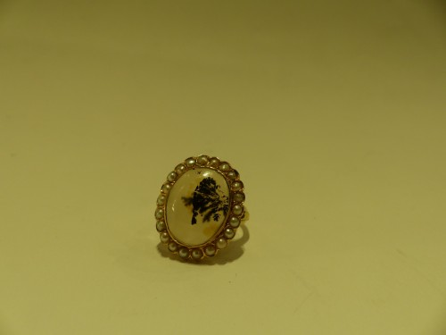 Gold ring, herborisee agate, naturels pearls, end of 18 th century - Antique Jewellery Style Directoire
