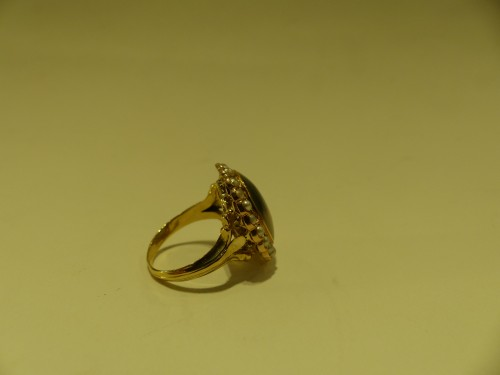 Antique Jewellery  - Gold ring, herborisee agate, naturels pearls, end of 18 th century