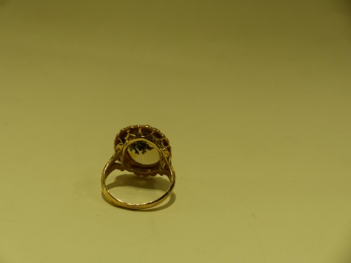Gold ring, herborisee agate, naturels pearls, end of 18 th century -