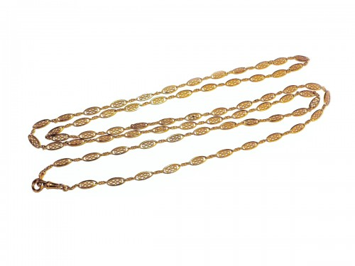XIX th century gold long necklace