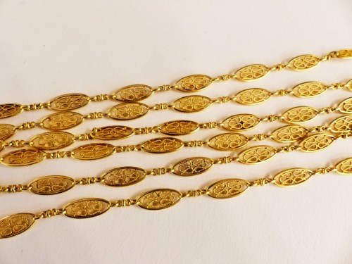 XIX th century gold long necklace - Antique Jewellery Style