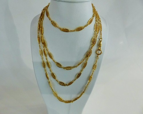 XIX th century gold long necklace -