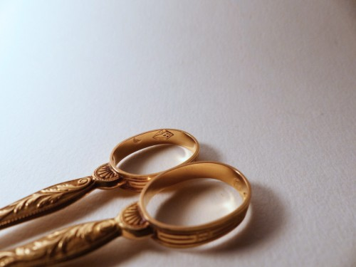 Pair of gold scissors Empire period - Objects of Vertu Style Restauration - Charles X