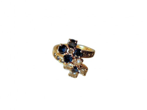 "MAUBOUSSIN ring "" you and me"" sapphires and diamonds"