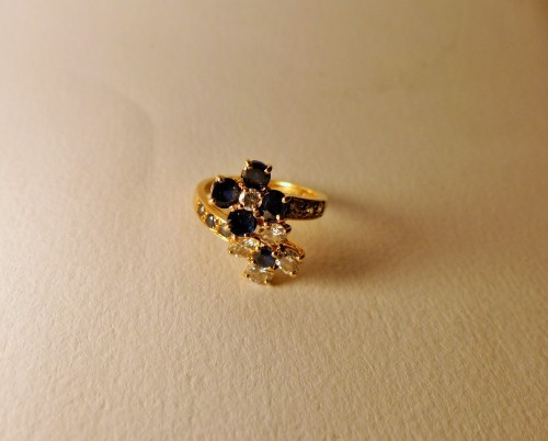 """MAUBOUSSIN ring """" you and me"""" sapphires and diamonds - Antique Jewellery Style 50"""