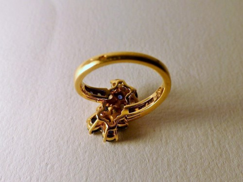 """Antique Jewellery  - MAUBOUSSIN ring """" you and me"""" sapphires and diamonds"""