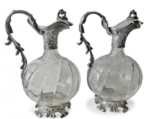 Pair of French 19th century Baccarat crystal and silver Ewers