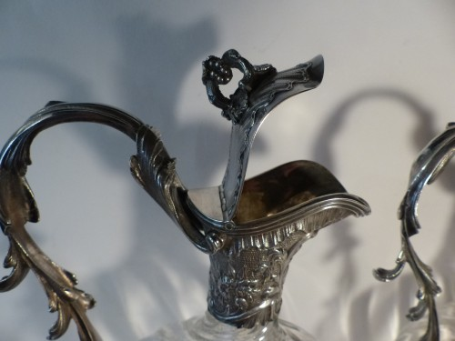 Pair of French 19th century Baccarat crystal and silver Ewers - Antique Silver Style Napoléon III