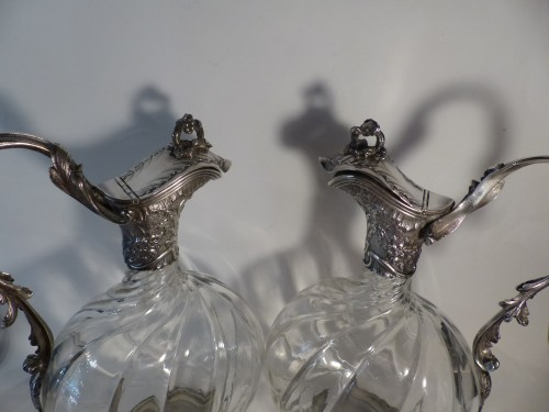 Pair of French 19th century Baccarat crystal and silver Ewers - Napoléon III