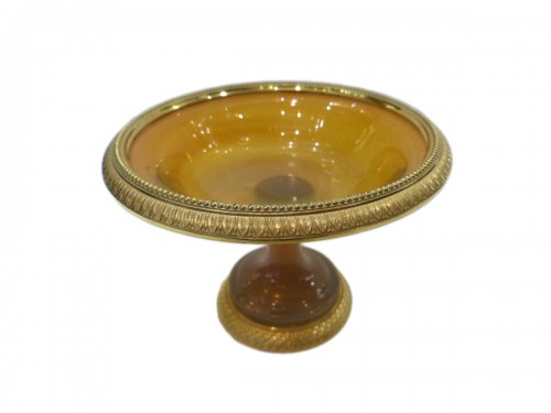 Cup in yellow opaline and gilded bronze circa 1810