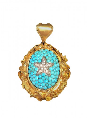 Turquoises naturels pearls and gold pendant French restauration period
