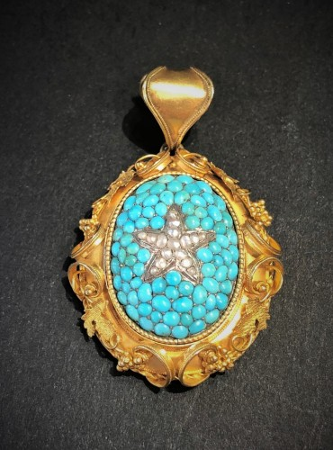 Restauration - Charles X - Turquoises naturels pearls and gold pendant French restauration period