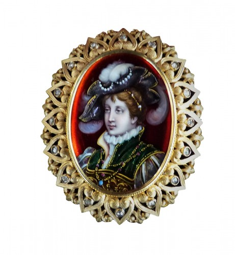 Enamel from Limoges, gold and diamonds brooch