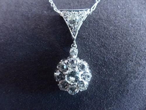 Gold pendant, Platinum and diamonds circa 1900 - Antique Jewellery Style Art nouveau