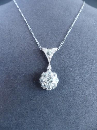 Gold pendant, Platinum and diamonds circa 1900 - Art nouveau