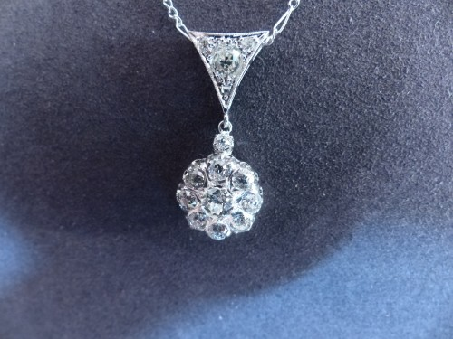 Art nouveau - Gold pendant, Platinum and diamonds circa 1900