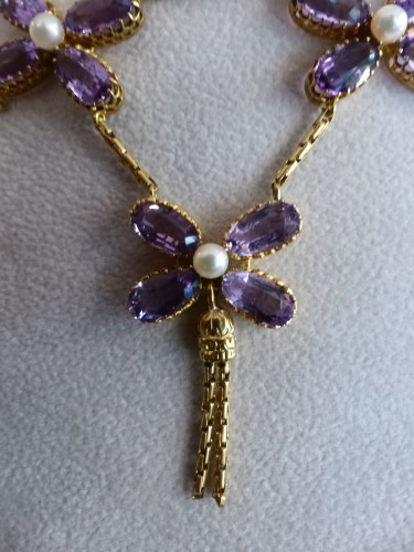 Necklace in gold, pearls and amethysts - Antique Jewellery Style Art Déco