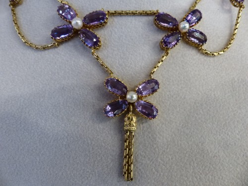 20th century - Necklace in gold, pearls and amethysts