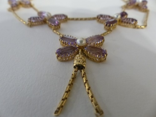 Necklace in gold, pearls and amethysts - Art Déco