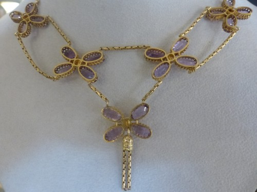 Art Déco - Necklace in gold, pearls and amethysts