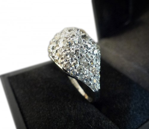 Platinum and diamond dome ring