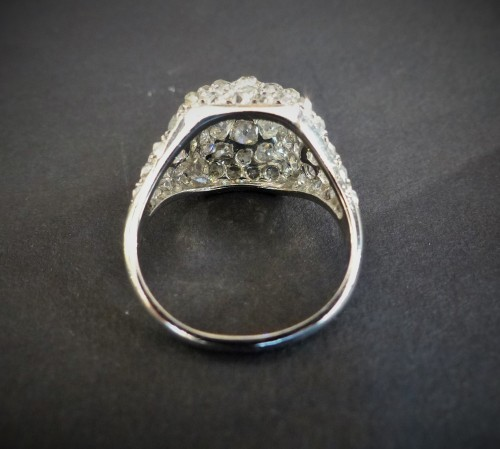 Platinum and diamond dome ring - Antique Jewellery Style Art Déco