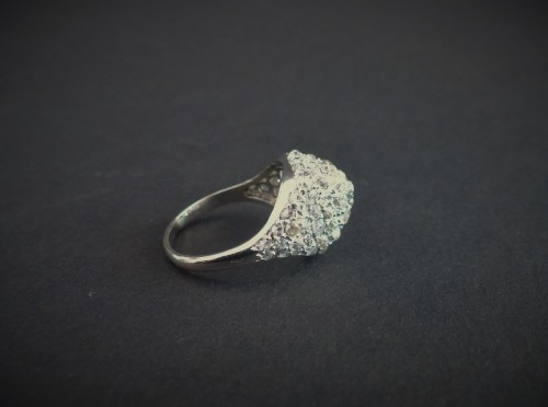 Platinum and diamond dome ring -