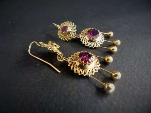 Pair of earrings in gold and garnets - Antique Jewellery Style Napoléon III