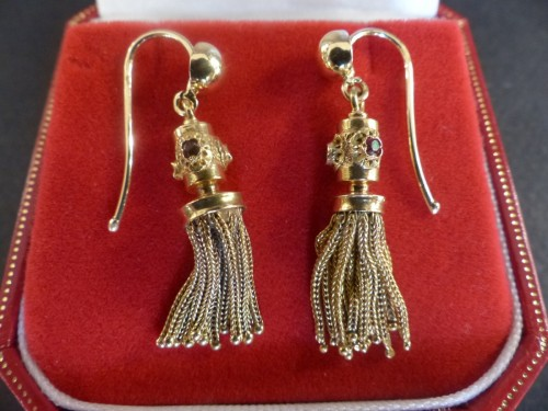 PomPoms and gold Ruby Earrings -