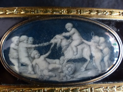 Piat- Sauvage, tortoiseshell and gold Snuffbox with decoration of putti - Objects of Vertu Style Louis XVI