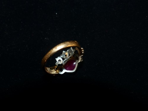 Antique Jewellery  - gold, silver and tourmaline antique engagement ring