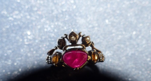 18th century - gold, silver and tourmaline antique engagement ring