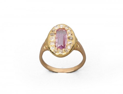 Napoleon III ring in gold, diamonds and tourmaline