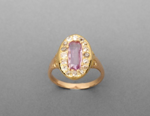 Napoleon III ring in gold, diamonds and tourmaline - Antique Jewellery Style Napoléon III