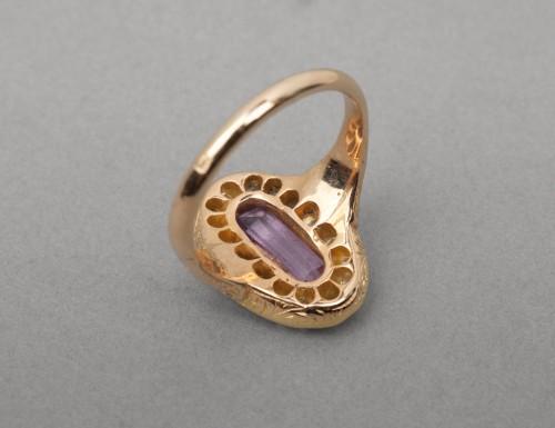 Antique Jewellery  - Napoleon III ring in gold, diamonds and tourmaline
