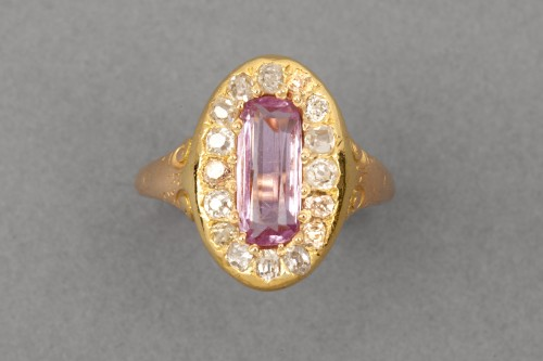 Napoleon III ring in gold, diamonds and tourmaline -