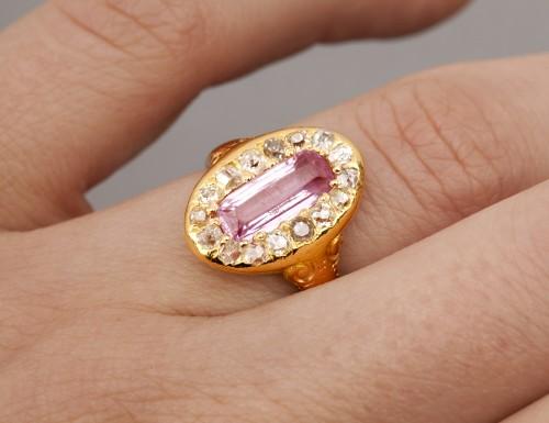 Napoleon III ring in gold, diamonds and tourmaline - Napoléon III