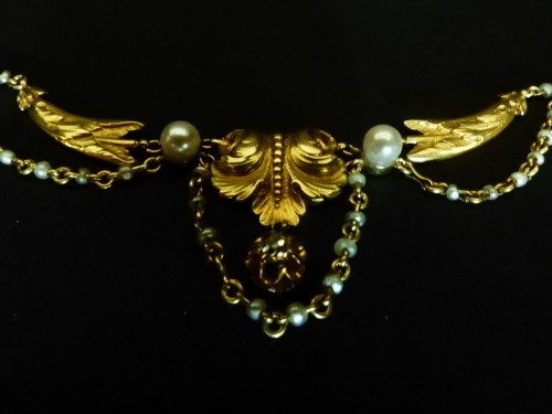 Gold necklace, with pearls and diamonds, Napoléon III period - Antique Jewellery Style Napoléon III