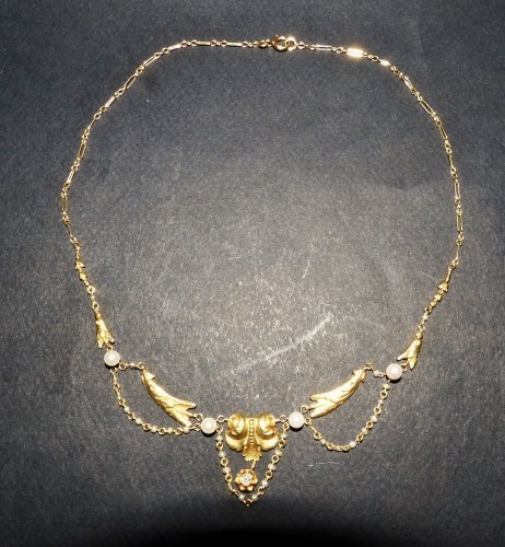 Antique Jewellery  - Gold necklace, with pearls and diamonds, Napoléon III period