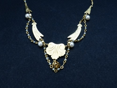 Gold necklace, with pearls and diamonds, Napoléon III period -