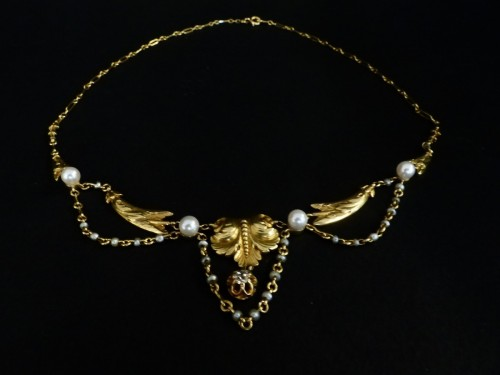 19th century - Gold necklace, with pearls and diamonds, Napoléon III period