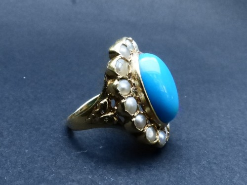 Nineteenth gold, turquoise and pearls ring - Antique Jewellery Style Napoléon III