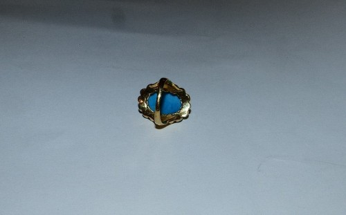Antique Jewellery  - Nineteenth gold, turquoise and pearls ring
