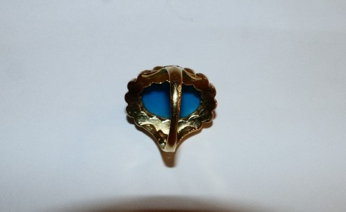 Nineteenth gold, turquoise and pearls ring -