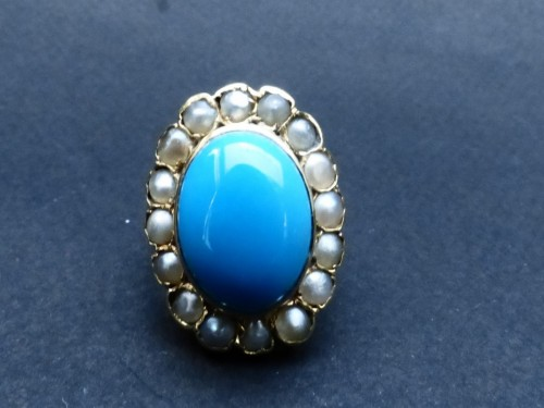 19th century - Nineteenth gold, turquoise and pearls ring